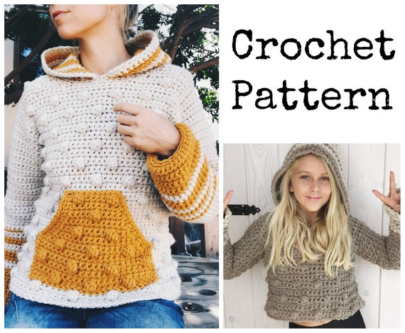 PDF-file for Crochet PATTERN, Bobble hoodie, 4 different Sizes: XS - xL