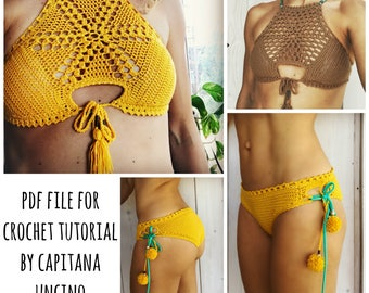 PDF-file for Crochet PATTERN, Sunflower Crochet Bikini Top and Bottom, Sizes XS,S,M,L, Cheeky, Croptop