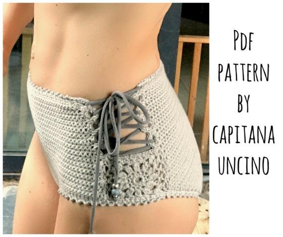 PDF-file for Crochet PATTERN, Aliyah Crochet Bikini Bottom Sizes XS-L, surfer bikini, Highwaist bottom