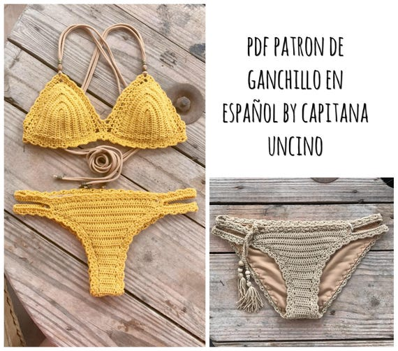 PDF PATRON de Ganchillo, Marina Bikini, 3 partes, tallas XS,S,M,L, en español, parte de arriba y 2 partes de abajo