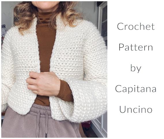 PDF-file for Crochet PATTERN, Naava Jacket, without ribbings, sizes XS-xxL, 6 sizes, one pattern file
