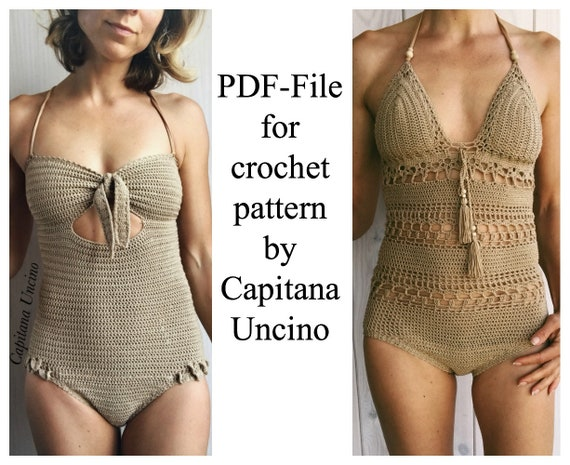 PDF-file,  2 CROCHET PATTERNs for Ariella swimsuit/onepiece and Giana one piece/body, Basic/cheeky bottom, onepiece,  Sizes XS-xL and xs-L