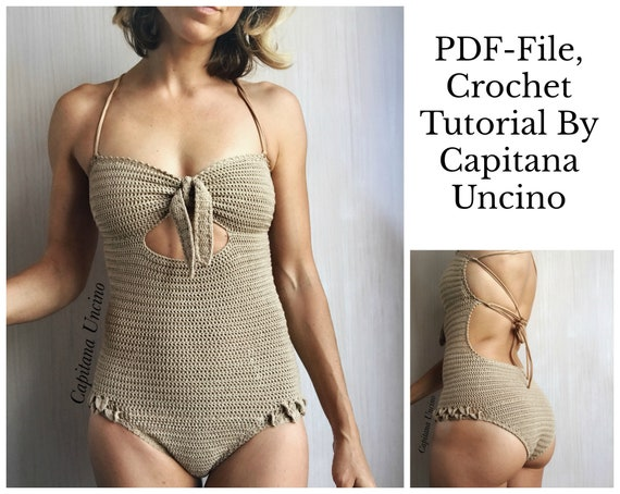 PDF-file, Crochet PATTERN for Ariella Swimsuit, Basic/cheeky bottom, onepiece,  Sizes XS-xL,