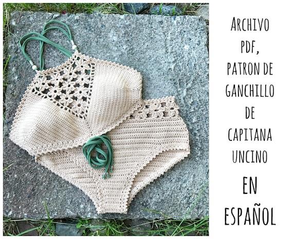 PDF PATRON de Ganchillo, Coralia, 2 partes, tallas XS,S,M,L, en español, bikini, top