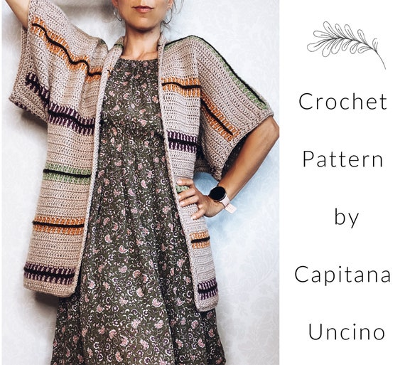 PDF-file for Crochet PATTERN, Pippi Cardigan, 3 different Sizes: xs/S, M/L and XL/xxL