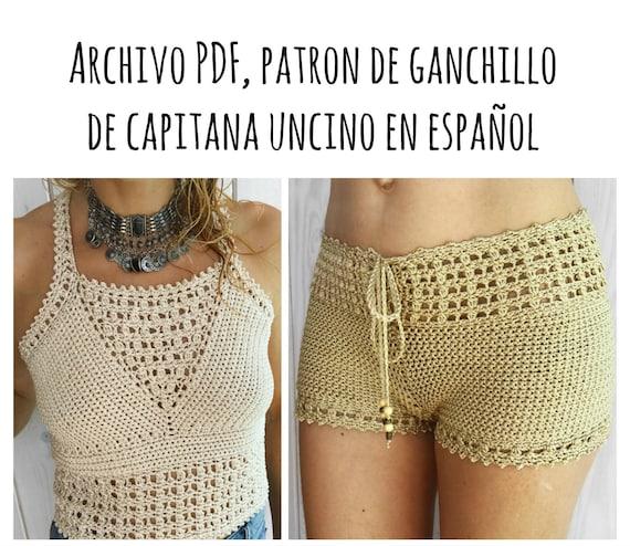 PDF PATRON de Ganchillo para Leyla Top y Los Pantalones cortos con la cintura alta, 2 partes, tallas XS,S,M,L, en español