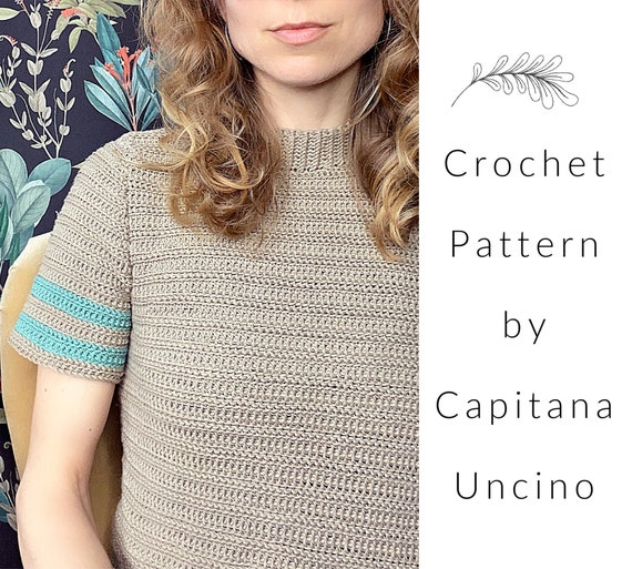 PDF-file for Crochet PATTERN, April T-shirt, Sizes XS,S,M,L, xL, Croptop, basic tee