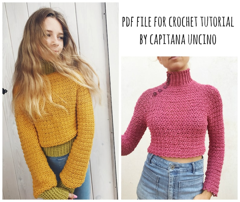 Sweater Elsa Polo-neck Jumper xL With buttons PDF-file for Crochet PATTERN Sizes: XS