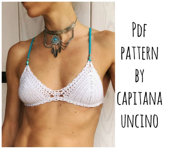 PDF-file for Crochet PATTERN, Marina Crochet Bikini Top Sizes XS,S,M,L,