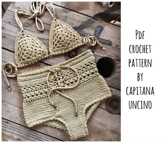 PDF-file for Crochet PATTERN, Angela Crochet Bikini Top and Highwaist Bottom, Sizes XS-L, charts for the top!