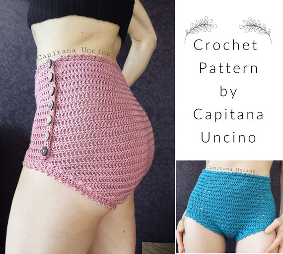 PDF-file for Crochet PATTERN, Yoga Crochet Highwaist Pants, Sizes XS, S, M, L, xL,-xxL, open side with buttons or closed.