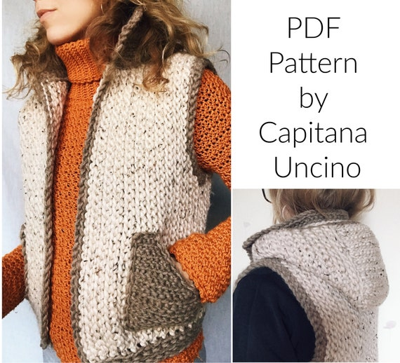 PDF-file for Crochet PATTERN, Lapponia Vest, 5 Sizes, with Hood and Pockets