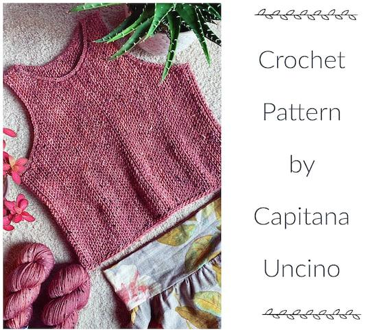 PDF-file for Crochet PATTERN, Aalto Top, sizes XS-xxL, 6 sizes