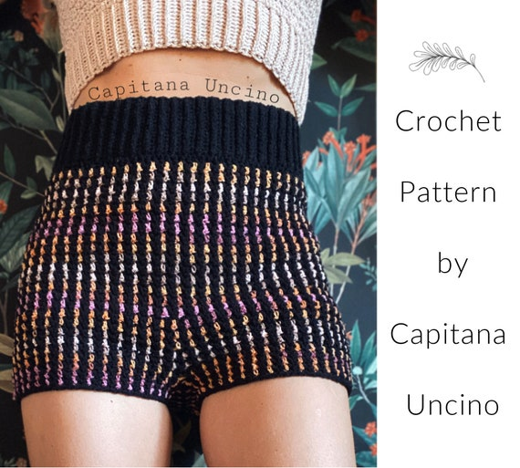PDF-file for Crochet PATTERN, Crochet Lady Midnight Highwaist Shorts, Sizes XS, S, M, L, xL,-xxL
