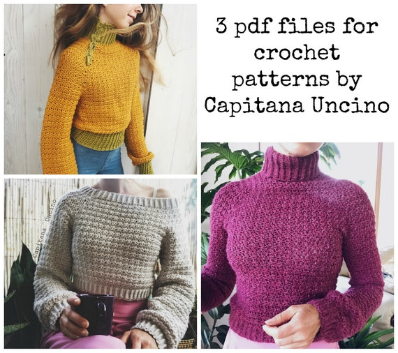 PDF-file for Crochet PATTERN, 3 different Elsa Jumpers/Sweaters, Sizes: XS - xL, 3 patterns>Offshoulder/Poloneck/Poloneck with buttons