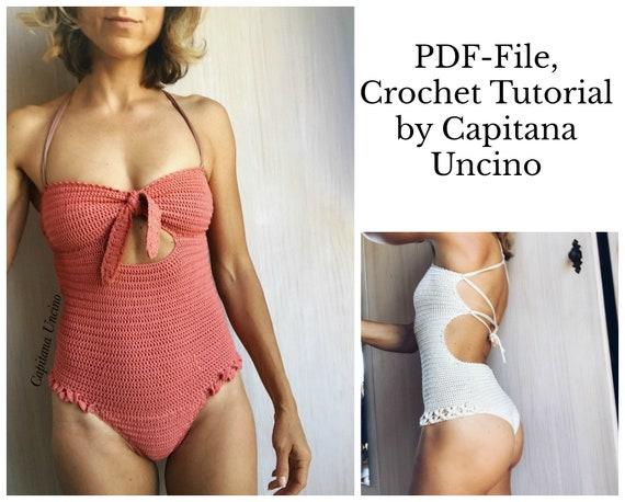 PDF-file, Crochet PATTERN for Ariella Brazilian, Swimsuit, onepiece,  Sizes XS-xL,