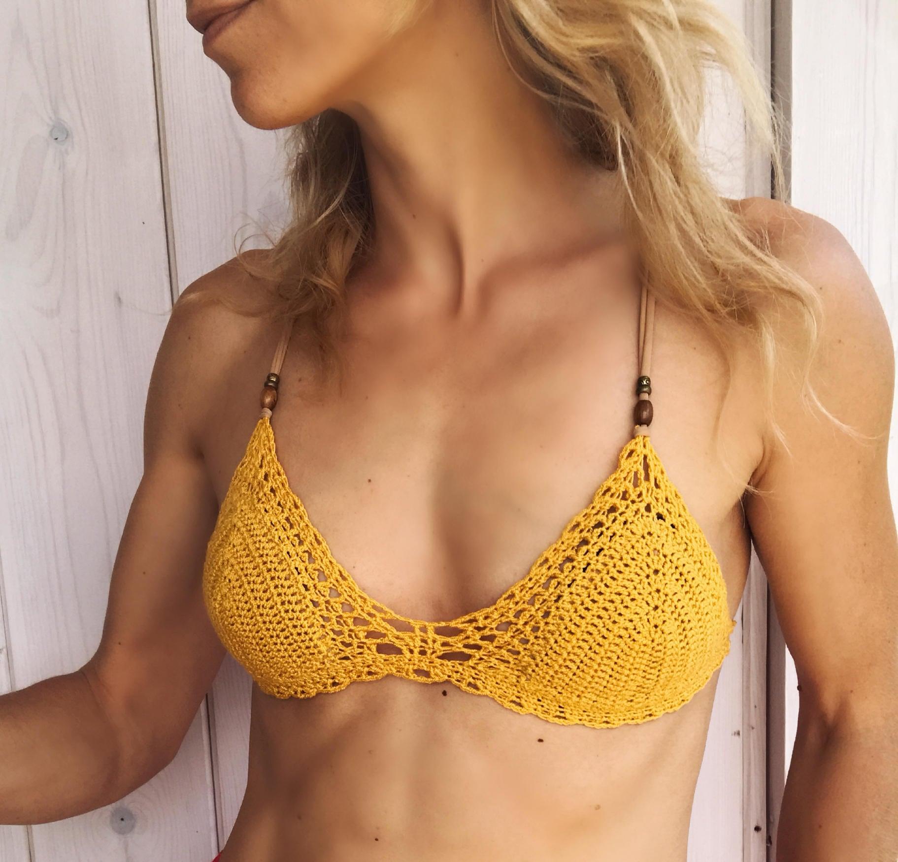 Marina Bikini en espa\u00f1ol tallas XS,S,M,L 2 partes parte de arriba y parte de abajo PDF PATRON de Ganchillo