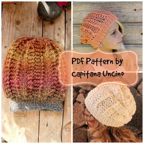 PDF, Knitting  PATTERN for Beanie, 2 Sizes XS-S andM-L, Lace Hat, Slouchy, Easy