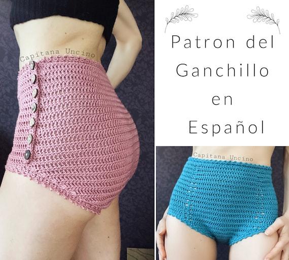 PDf Patron de Ganchillo, Yoga pantalones cortos, con cintura alta. Tallas XS,S,M,L, XL, XXL, en español. 2 obciones differentes