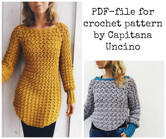 PDF-file for Crochet PATTERN, Minerva Crochet Tunica ,Sweater, Long sleeve Dress, sizes XS-xL, 4 different sizes