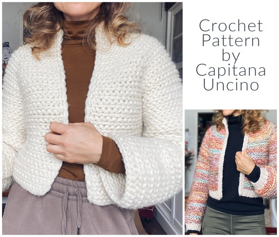 PDF-file for Crochet PATTERN, Naava Jacket, 2 versions, with or without ribbings, sizes XS-xxL, 6 sizes