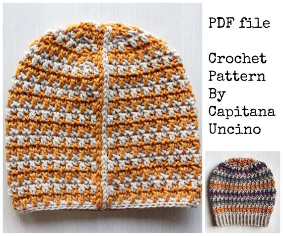 PDF Crochet  PATTERN for Philomena Beanie, 4 Sizes XS, S, M, L, with ribbing or without, 2 pattern files