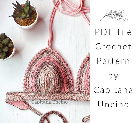 PDF-file for Crochet PATTERN, Equilibrium Crochet Bikini Top, Sizes XS,S,M,L,Xl