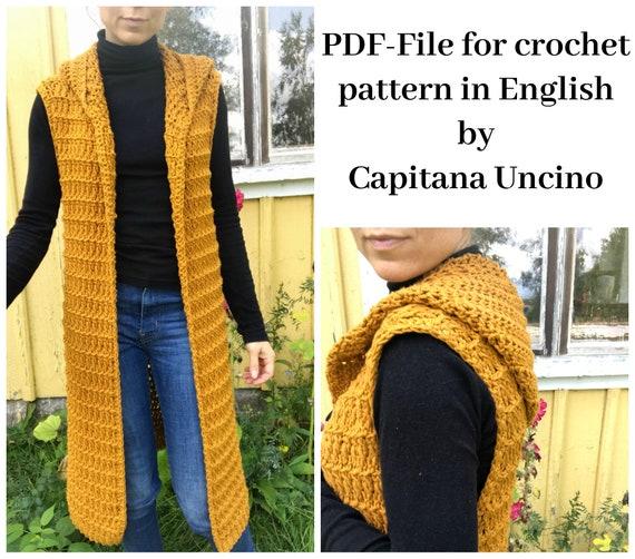 PDF-file for Crochet PATTERN, Elvina Vest, 4 Sizes