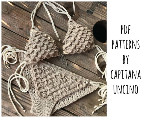 PDF-file for Crochet PATTERN, Ariella Mermaid Crochet Bikini Top and Bottom with side ties, Sizes XS-L