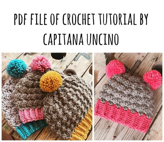 PDF Crochet  PATTERN for Minerva Beanie, 3 Sizes S, M, L, Easy, with Pompom, 2 Versions> slouchy beret and more fitting