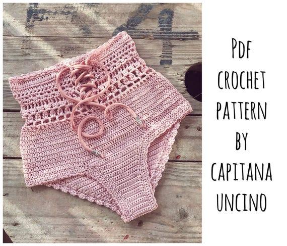 PDF-file for Crochet PATTERN, Angela Crochet Bikini Bottom Sizes XS-L, Highwaist bottom