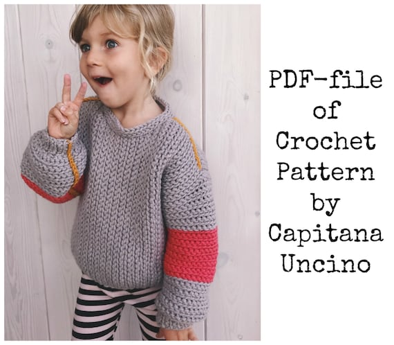 Pdf-file for Crochet PATTERN for Tell me a story Sweater for Kids