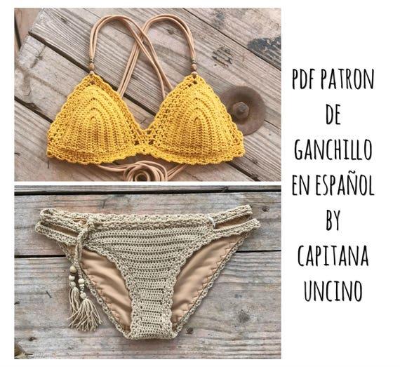 PDF PATRON de Ganchillo, Marina Bikini, 2 partes, tallas XS,S,M,L, en español, parte de arriba y parte de abajo