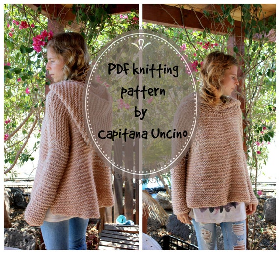 PDF, Knitting  PATTERN for Hoodie, Sizes XS-S/M-L, Sweater, Pullover, Easy