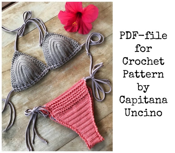 PDF-file for Crochet PATTERN, Chasing Stars Crochet Brazilian Bikini Set, Sizes XS,S,M,L,xL, Top and Bottom, Side Ties