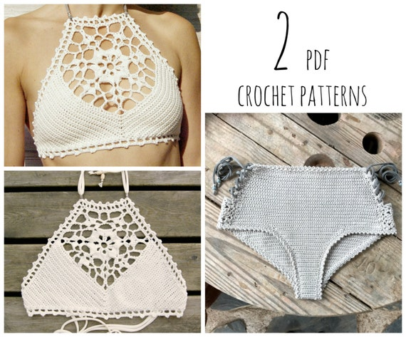 PDF-files for 2 Crochet PATTERNS: Venus crop Top and Aliyah Crochet Bikini Bottom Sizes XS-L, surfer bikini, Highwaist bottom