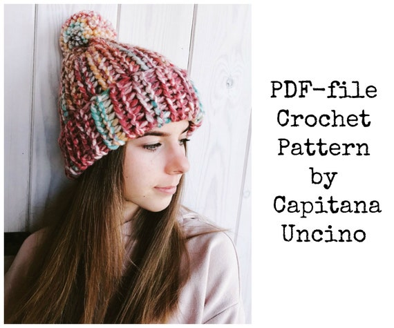 PDF Crochet  PATTERN for Wandering Jane Beanie, 3 Sizes S, M, L, Easy, with Pompom, 2 different yarn weight> Chunky or Super Chunky