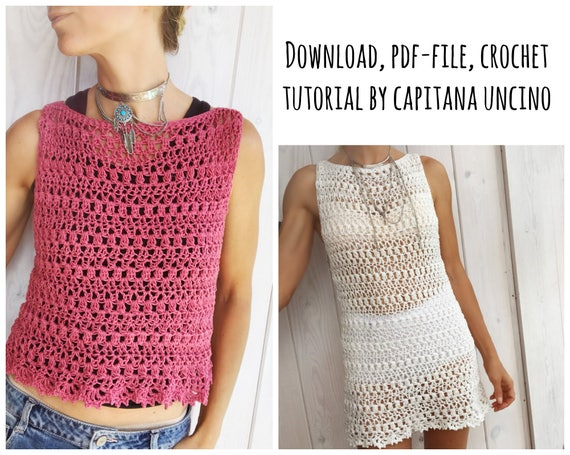 PDF-file for Crochet PATTERN, Alfreda Top, Dress, 4 different Sizes: XS, S, M, L, adjustable length