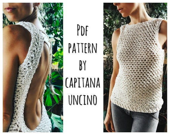 PDF-file for Crochet PATTERN Zahara Crochet Top, open back, Sizes XS,S,M,L,xL