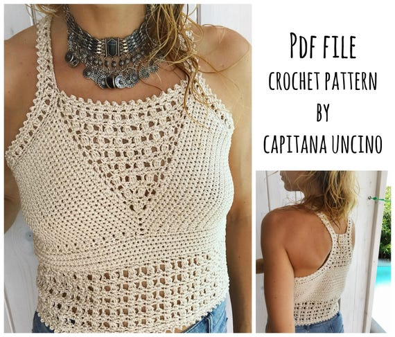 PDF-file for Crochet PATTERN, Leyla Crochet Top Sizes XS-L, Cropped top, Racer back