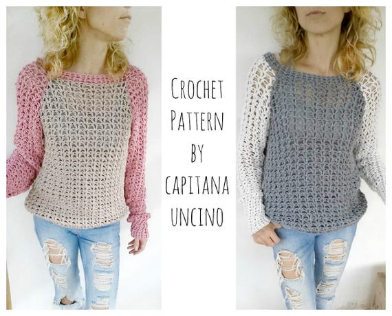 PDF-file for Crochet PATTERN, Valentina Pullover, Sweater, 4 different Sizes: XS, S, M and L