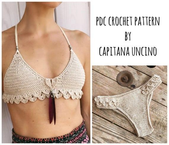 PDF-file for Crochet PATTERN, Ariella Mermaid Bralette and Brazilian Bottom, Sizes XS-L, Cheeky
