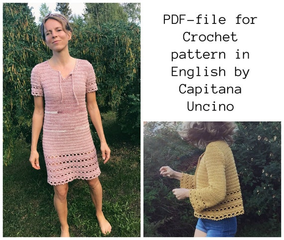 PDF-file for Crochet PATTERN, Magnolia Dress and Shirt,  XS, S, M L and xL