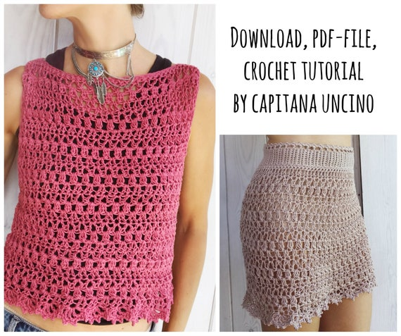 PDF-file for Crochet PATTERN, Alfreda Top, Dress and Skirt, 4 different Sizes: XS, S, M, L, adjustable length