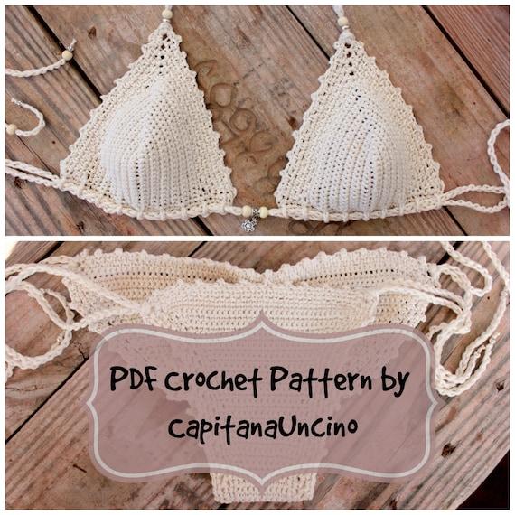 PDF, Crochet PATTERN Naiad Crochet Bikini Top and Brazilian Bottom, Cheeky, scrunch butt, Sizes XS-L