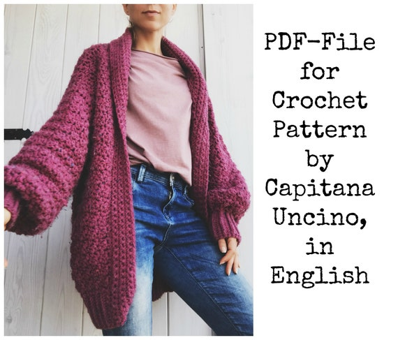 PDF-file for Crochet PATTERN, Elsa Cardigan, 3 different Sizes: xs/S, M/L and L/XL