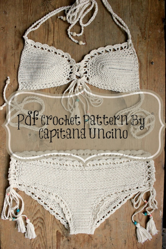 PDF, Crochet PATTERN for Haliai Crochet Bikini Top and Hipster Bottom, Sizes XS-L