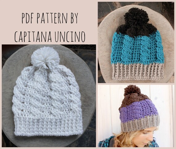 PDF Crochet  PATTERN for Cable Beanie, 2 Sizes XS-S andM-L, Slouchy, Easy, with Pompom