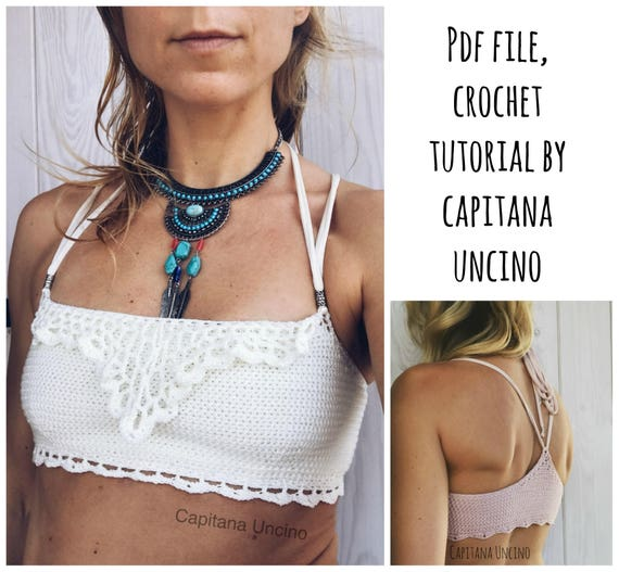 PDF-file for Crochet PATTERN, Liliana Bandeau Top, Sizes XS-L, Bikini top, Cropped top, with or without ties