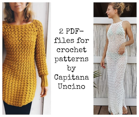 PDF-files of Crochet PATTERNS for Both Minerva Crochet Tunic and Dress/ Top, 2 files, 4 different Sizes: xs-xl, Beach Cover up, top, fringes